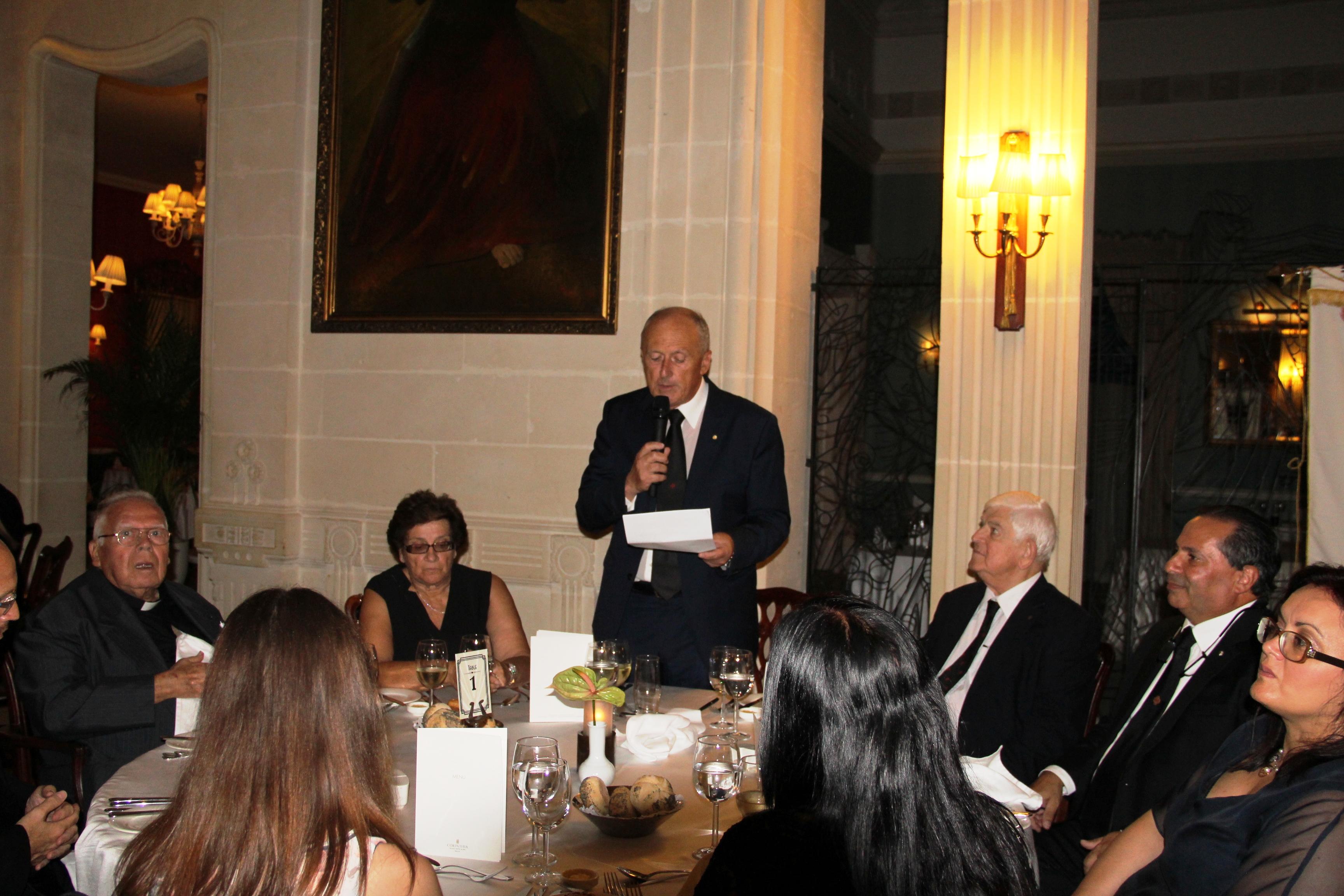 H.E. the Lieutenant delivering a memorable speech before dinner